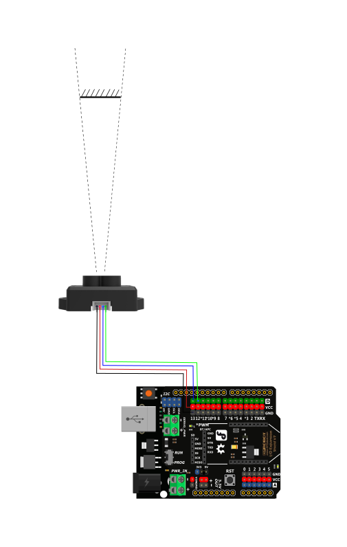 TF Mini LiDAR(ToF) Laser Range Sensor Connection Diagram