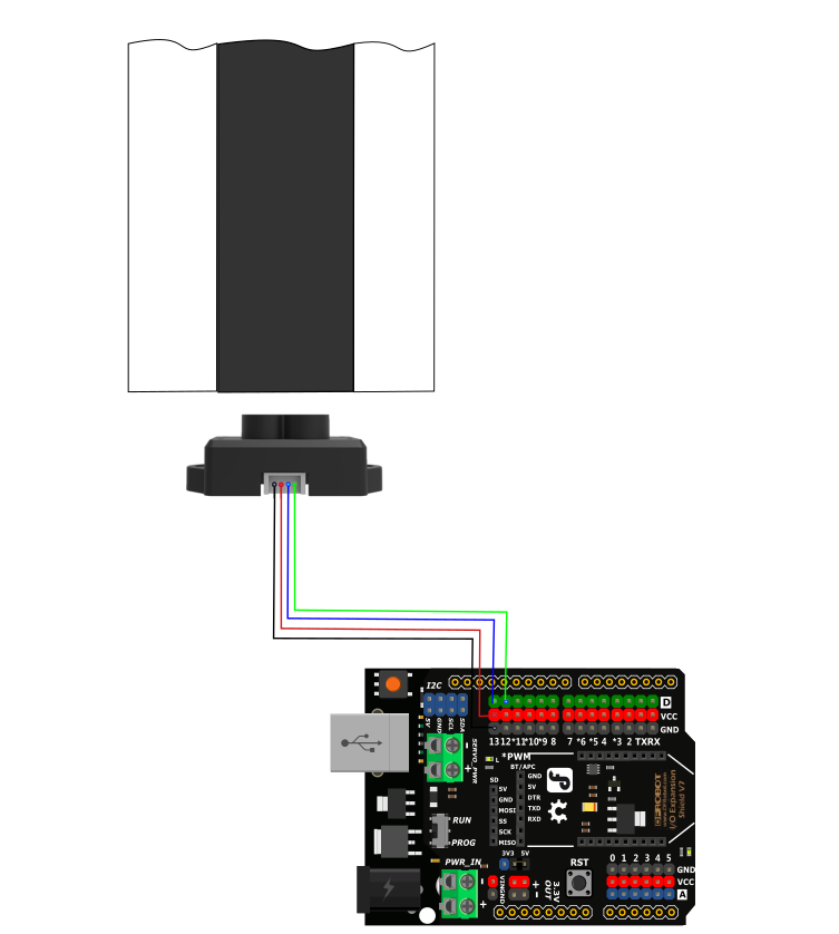 TF Mini LiDAR(ToF) Laser Range Sensor Connection Diagram(Line-tracking)