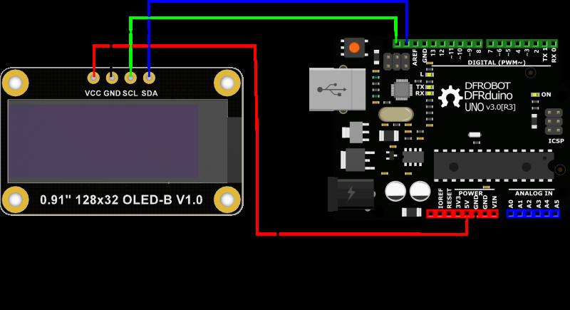 "Monochrome 0.91""128x32 I2C OLED Display Connection"