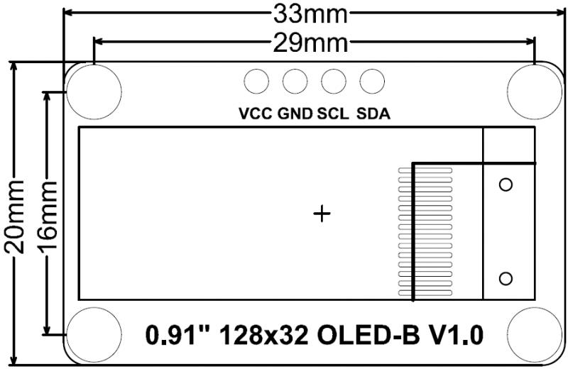 "Monochrome 0.91""128x32 I2C OLED Display Dimension"