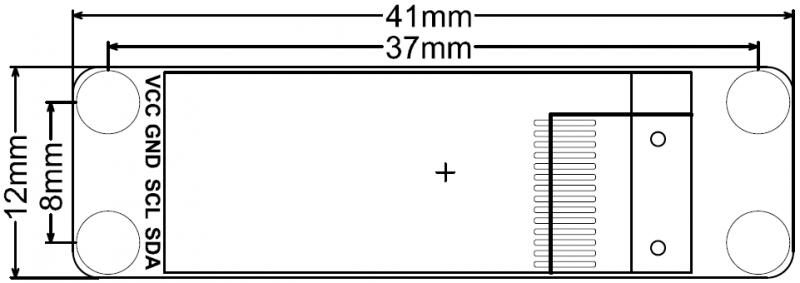 "Monochrome 0.91""128x32 I2C OLED Display Chip Pad Dimension.png"