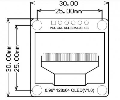 Monochrome 0.96inch 128x64 IIC SPI OLED dimension