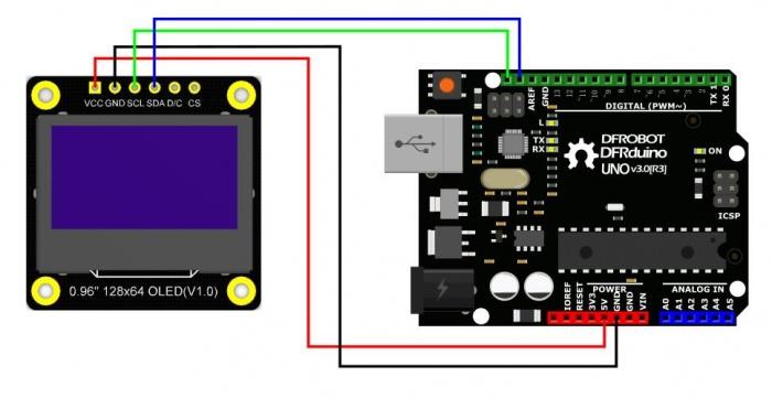 Monochrome 0.96inch 128x64 IIC SPI OLED display IIC Connection