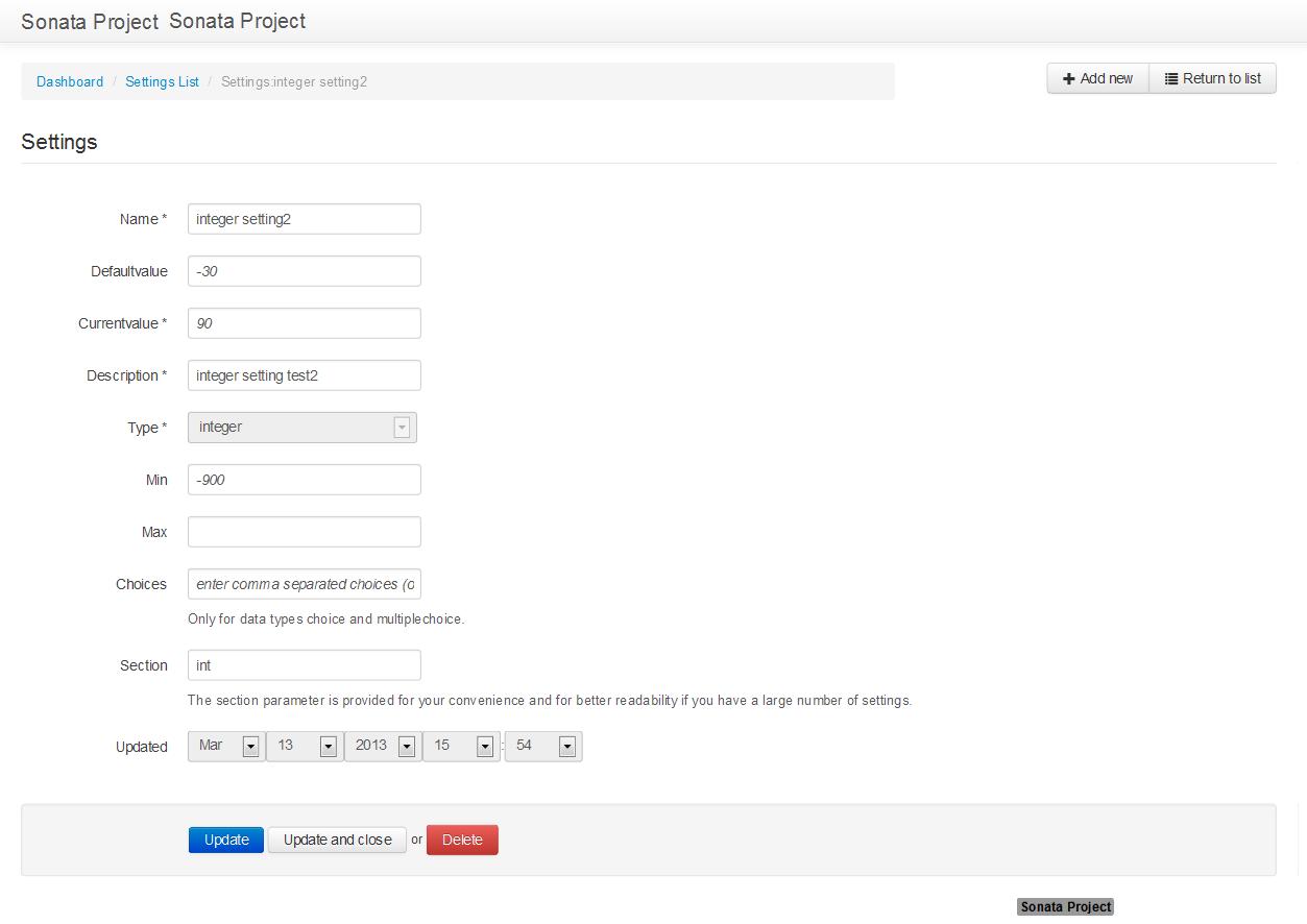 Screen shot edit integer settings