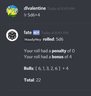 GitHub - DLvalentine/fate: A dice roller bot for discord
