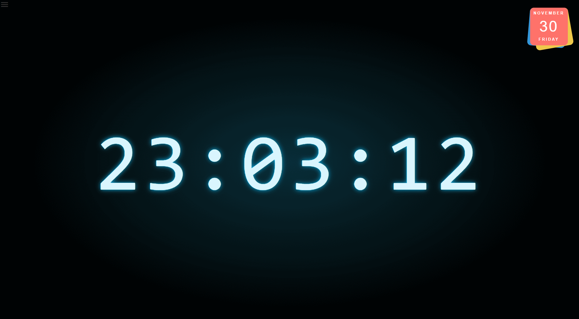Screenshot of the GUI using a digital clock