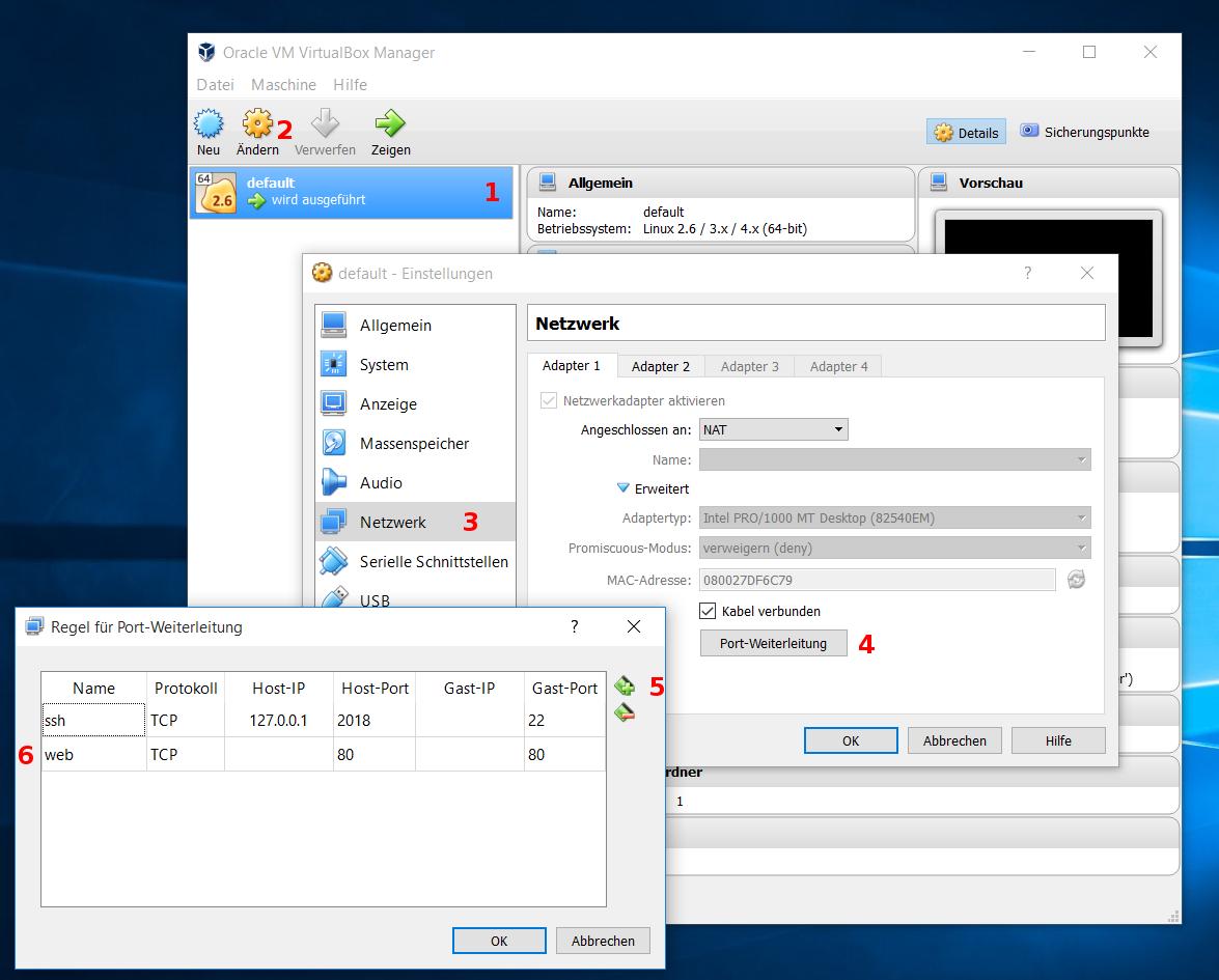 VirtualBox port forwarding steps