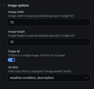 configuration panel