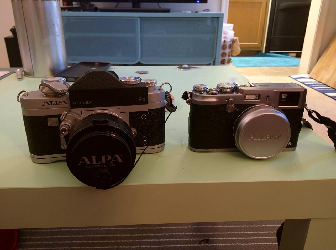 fujifilm x100s next to Alpa 9d