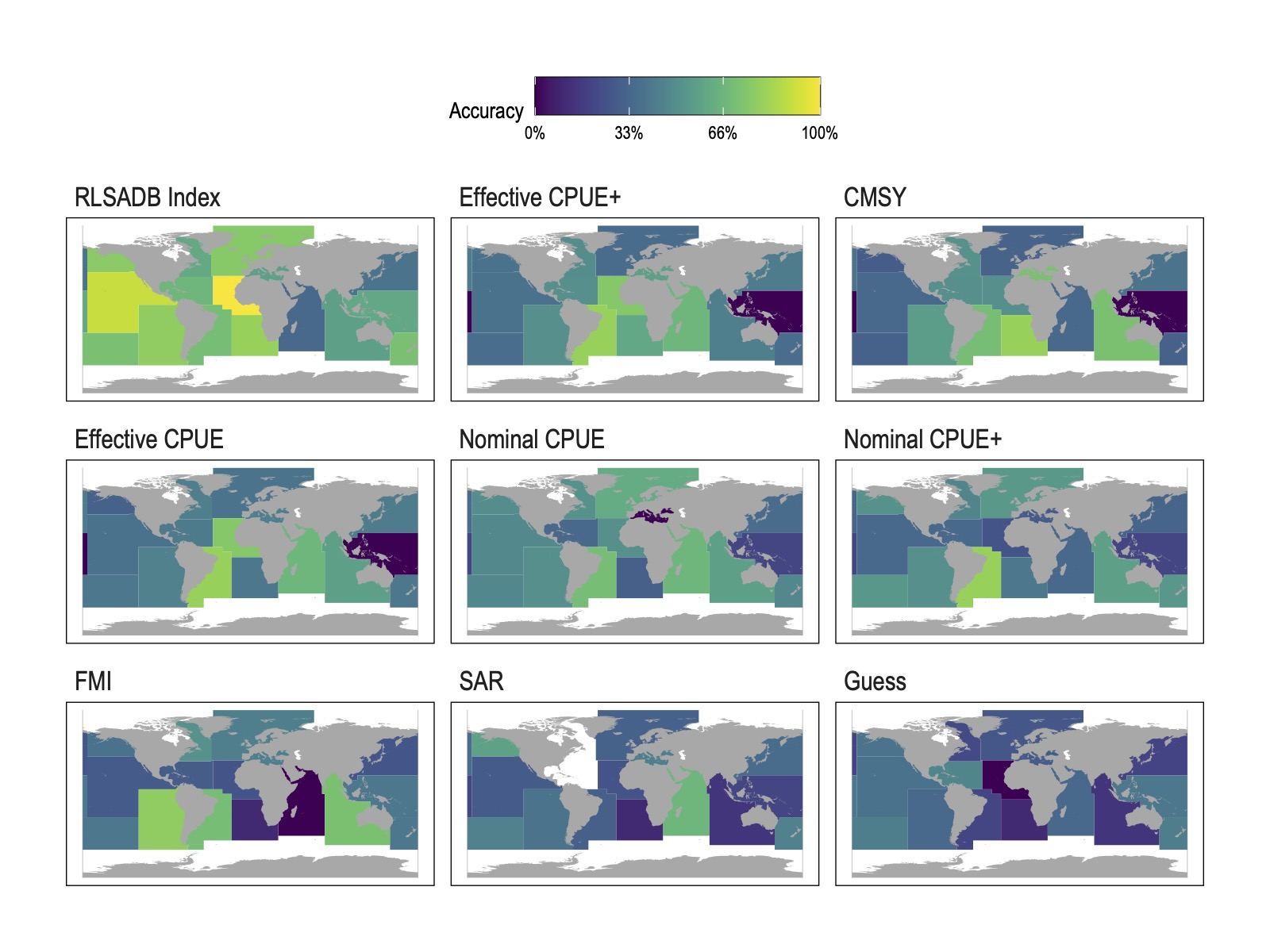 Mean classification accuracy (assignment to FAO stock status category) by FAO statistical area arising from different data sources. Data source panels are ordered in descending (starting from top left) mean accuracy at the FAO region level.