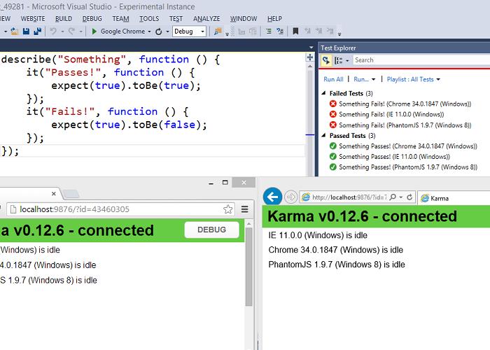 Screenshot of Karma tests in Visual Studio Test Explorer