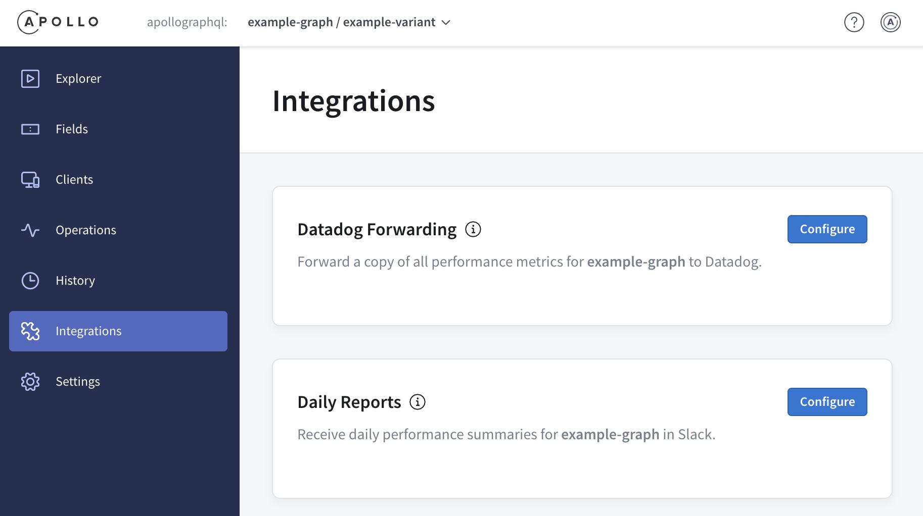 Page des intégrations