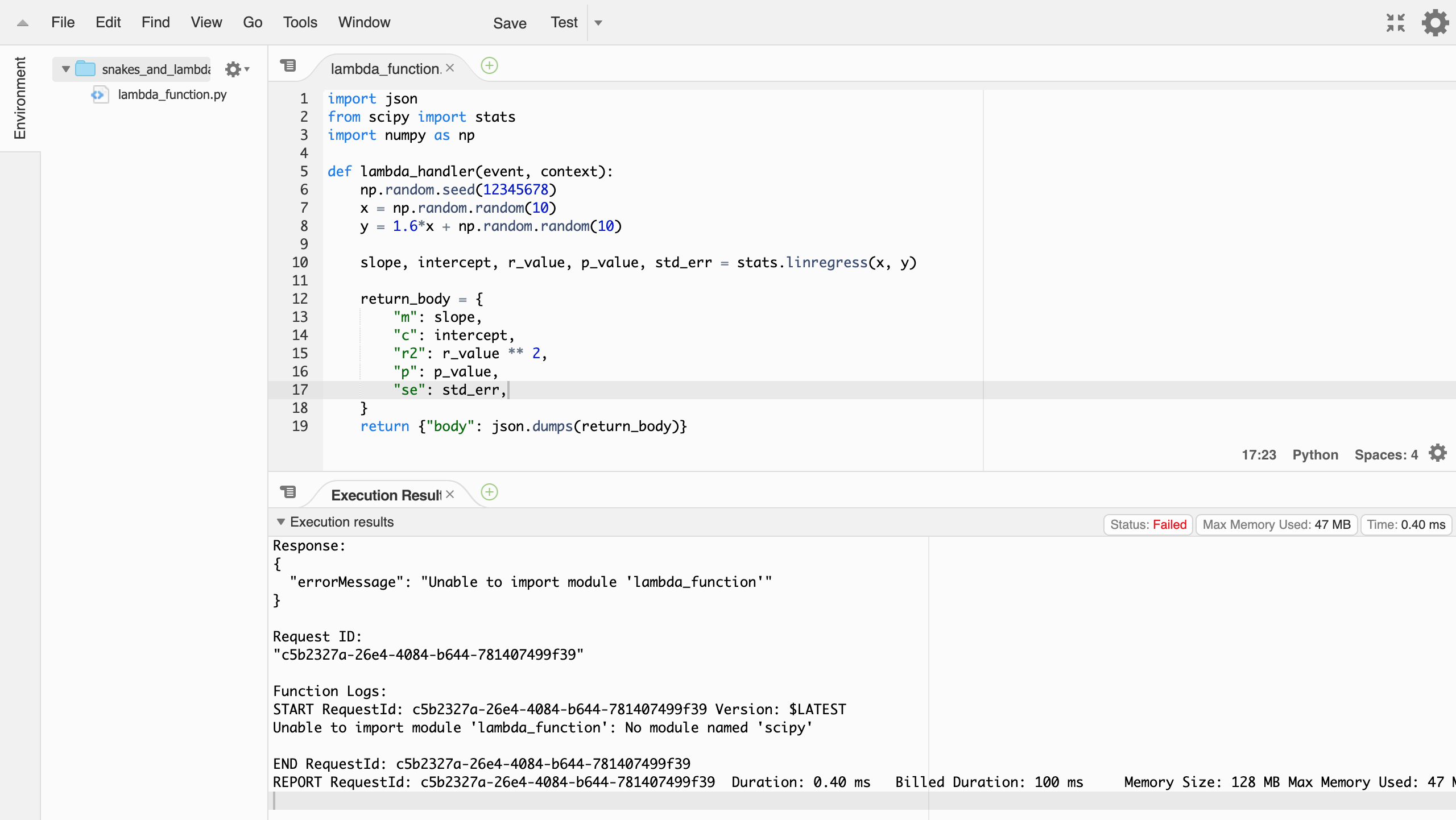 aws console lambda editor with an error message