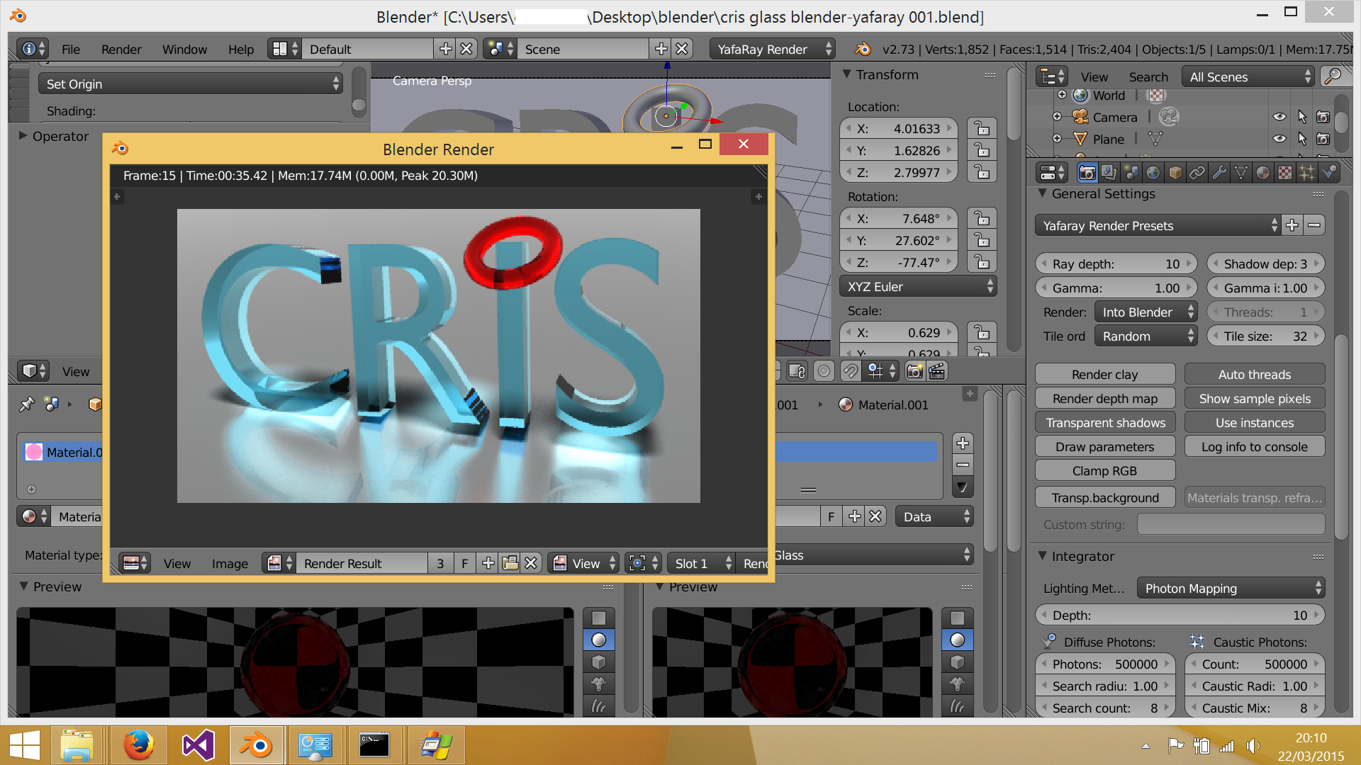 example of Yafaray 0.1.5 with Blender 2.73 Windows 8.1 64 bit.png