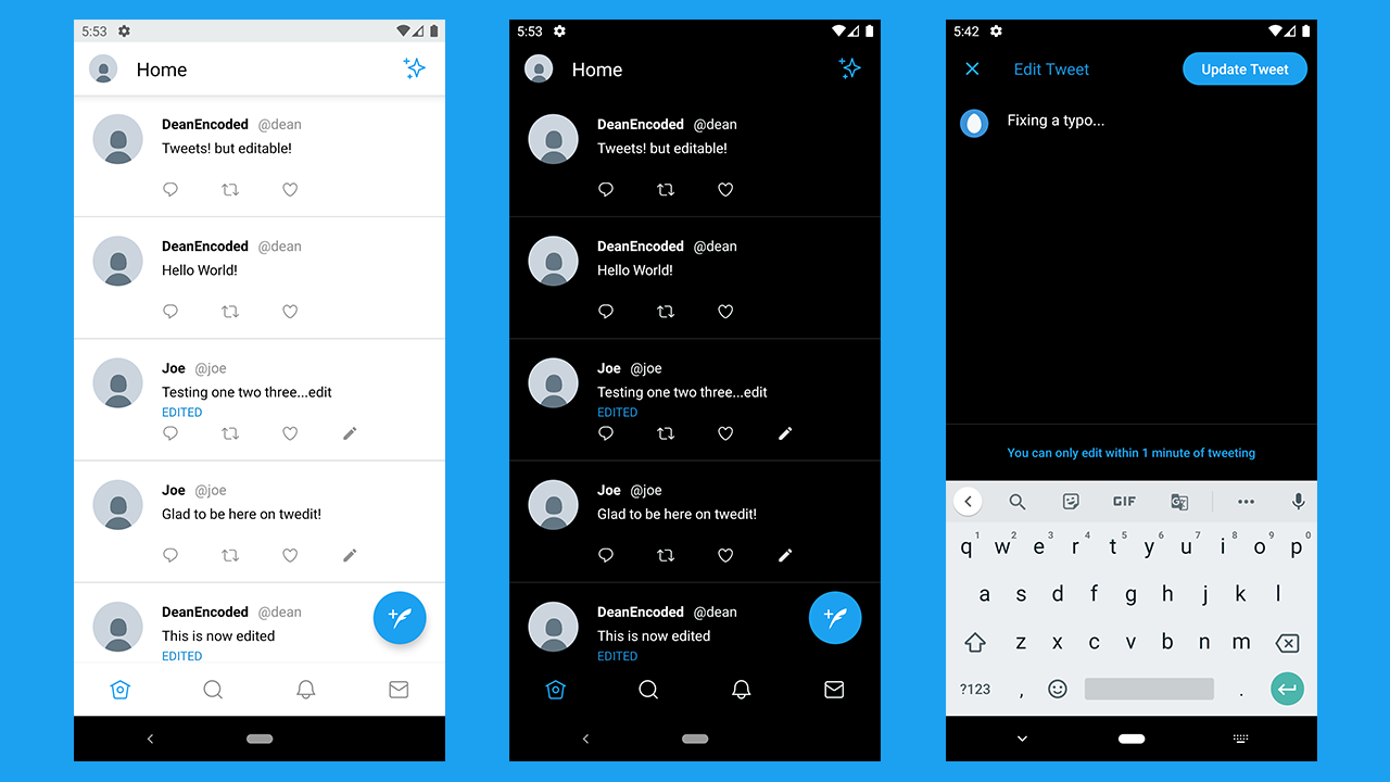 Github Deanencoded Twedit Twedit Is A Clone Of The Twitter Android App But With Editable Tweets