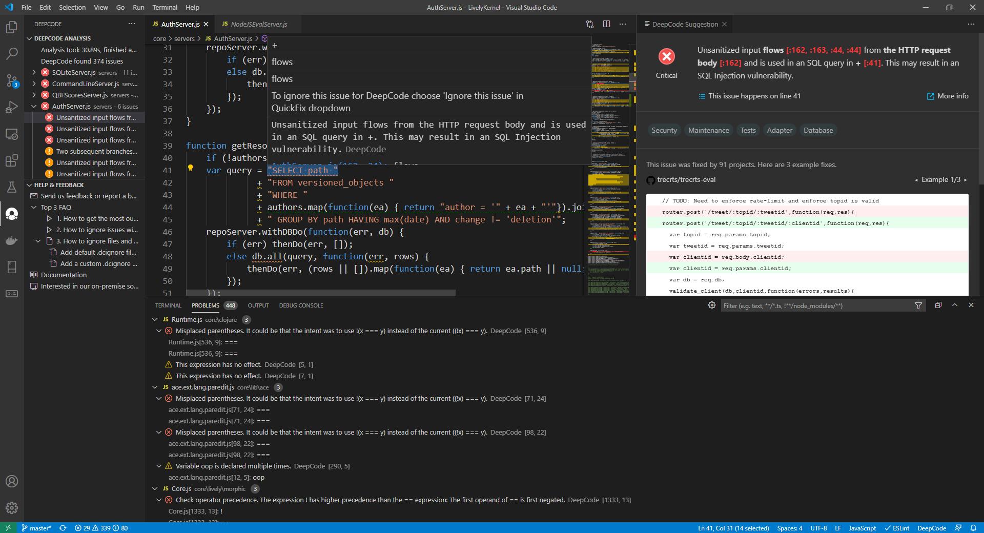 deepcode problem