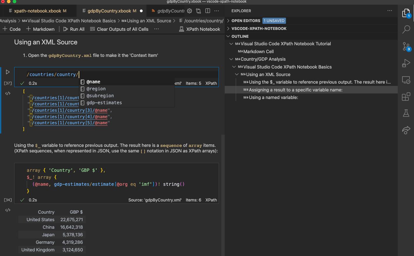 XPath Notebook screenshot