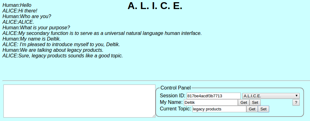 Artificial Intelligence Chat: A.L.I.C.E.