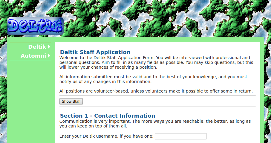 Deltik Staff Application Form: Intro