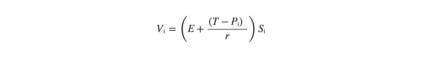 Vᵢ = (E + ((T - Pᵢ) / r)) * Sᵢ