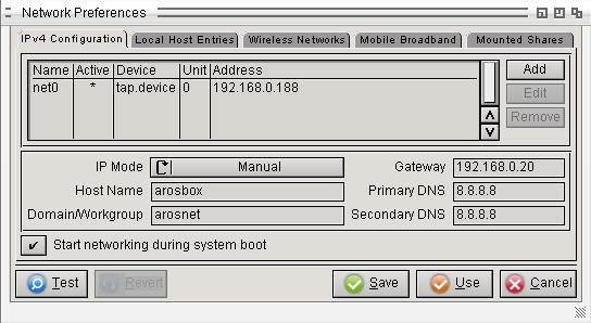 AROS Network Preferences