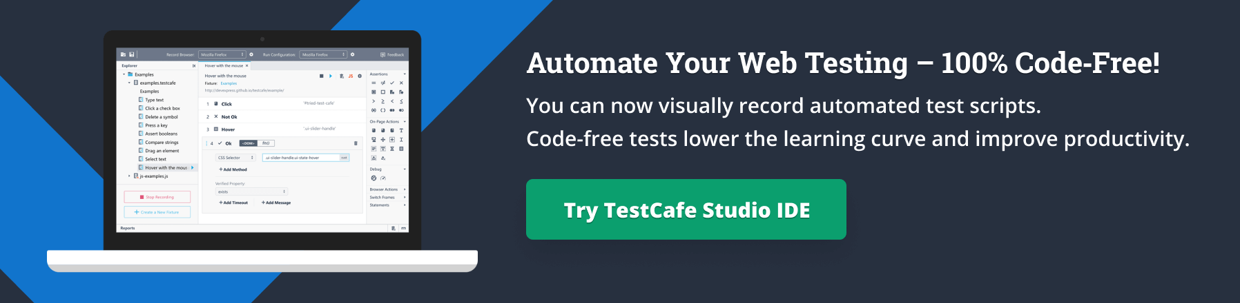 Try TestCafe Studio IDE
