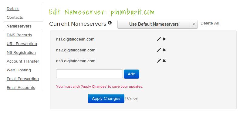 Config nameservers name.com