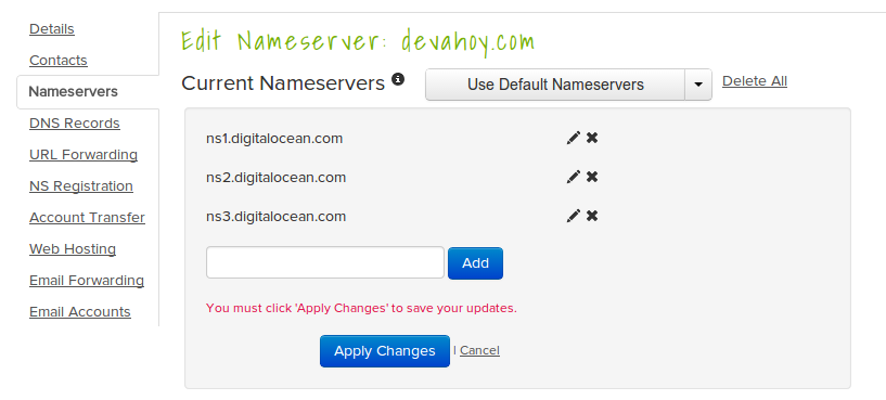 Edit nameserver name.com