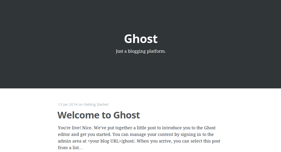 Welcome Ghost