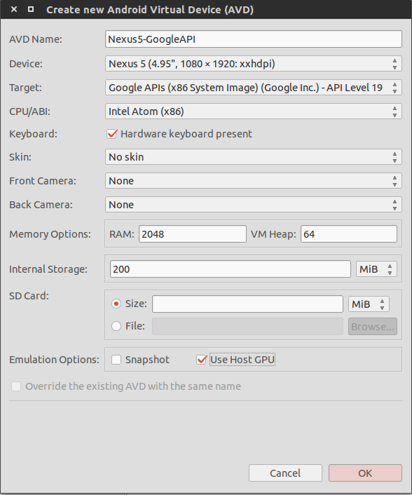 Android Create Emulator