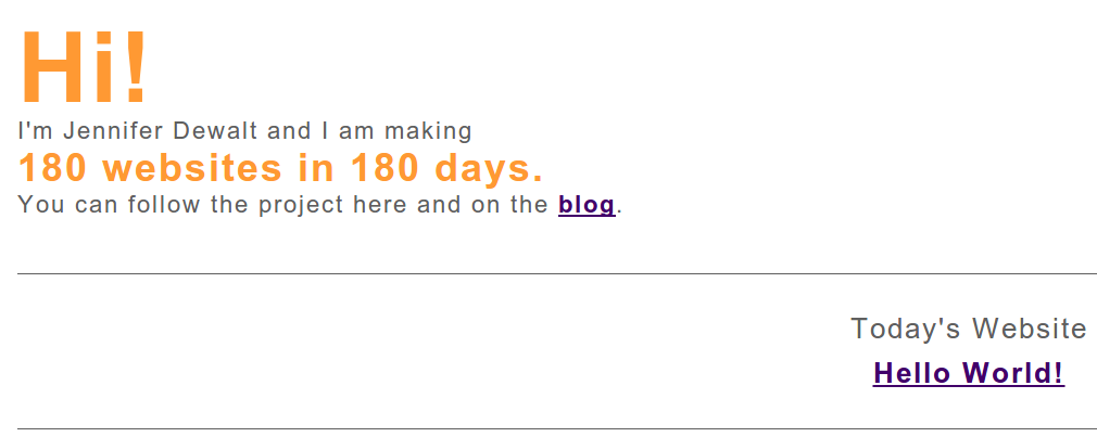 180 websites in 180 days