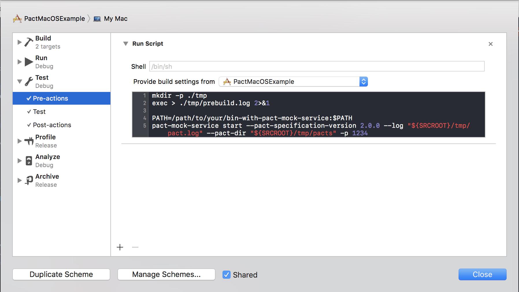 Xcode Scheme Test Pre-actions