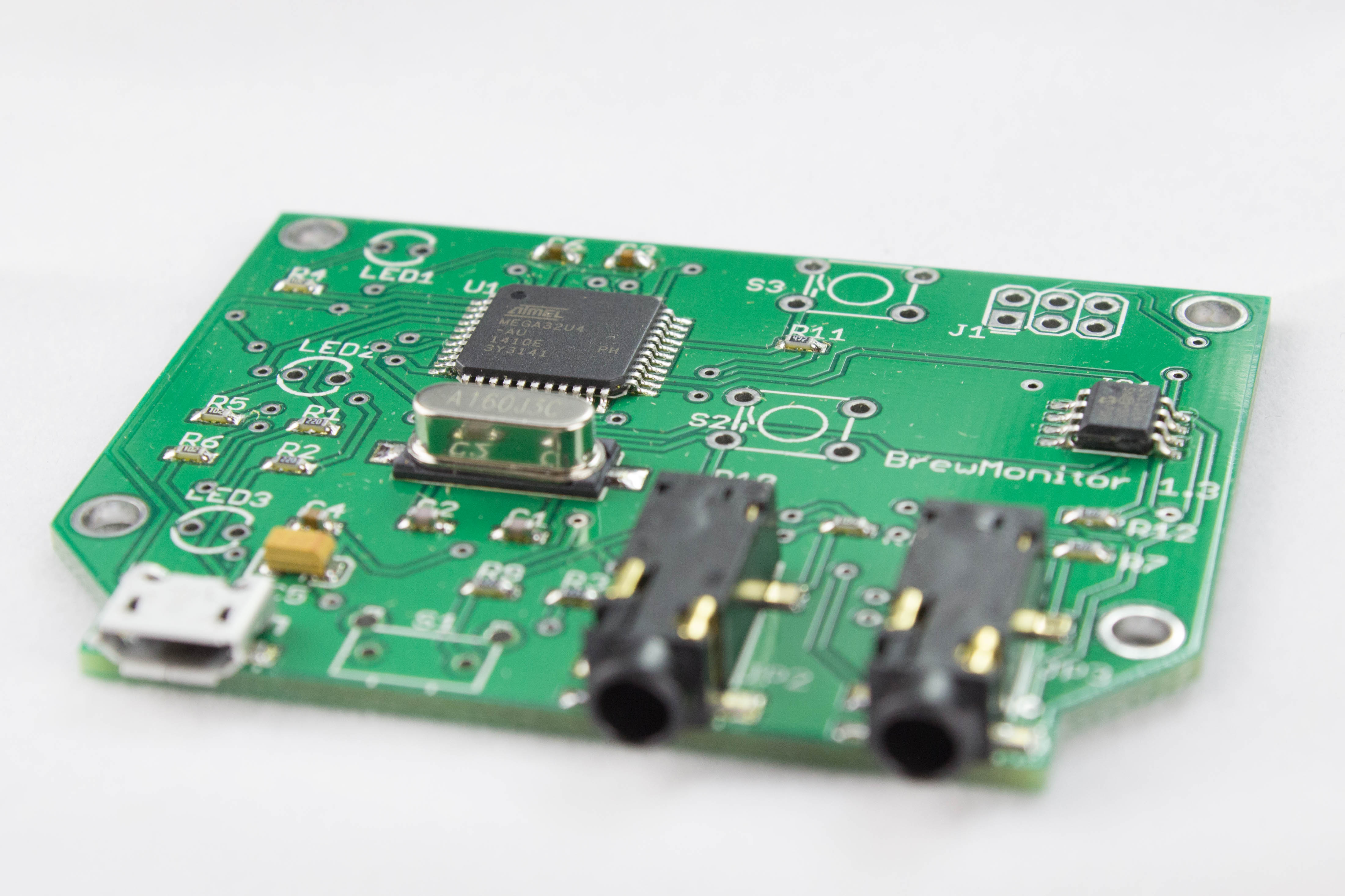BrewMonitor's partially assembled PCB