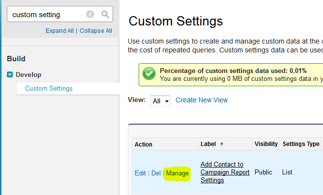 manage settings
