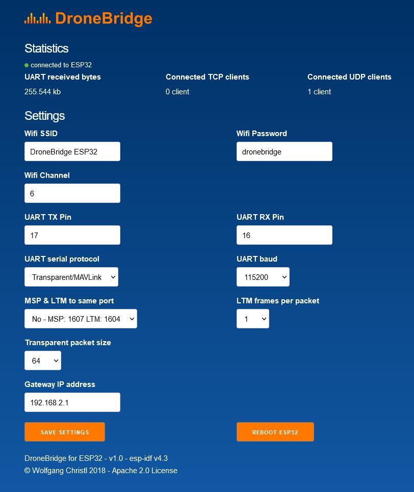 DroneBridge for ESP32 Webinterface