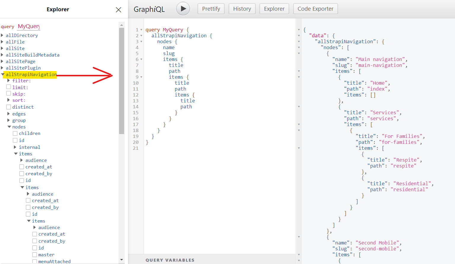 GraphiQL example in gatsby