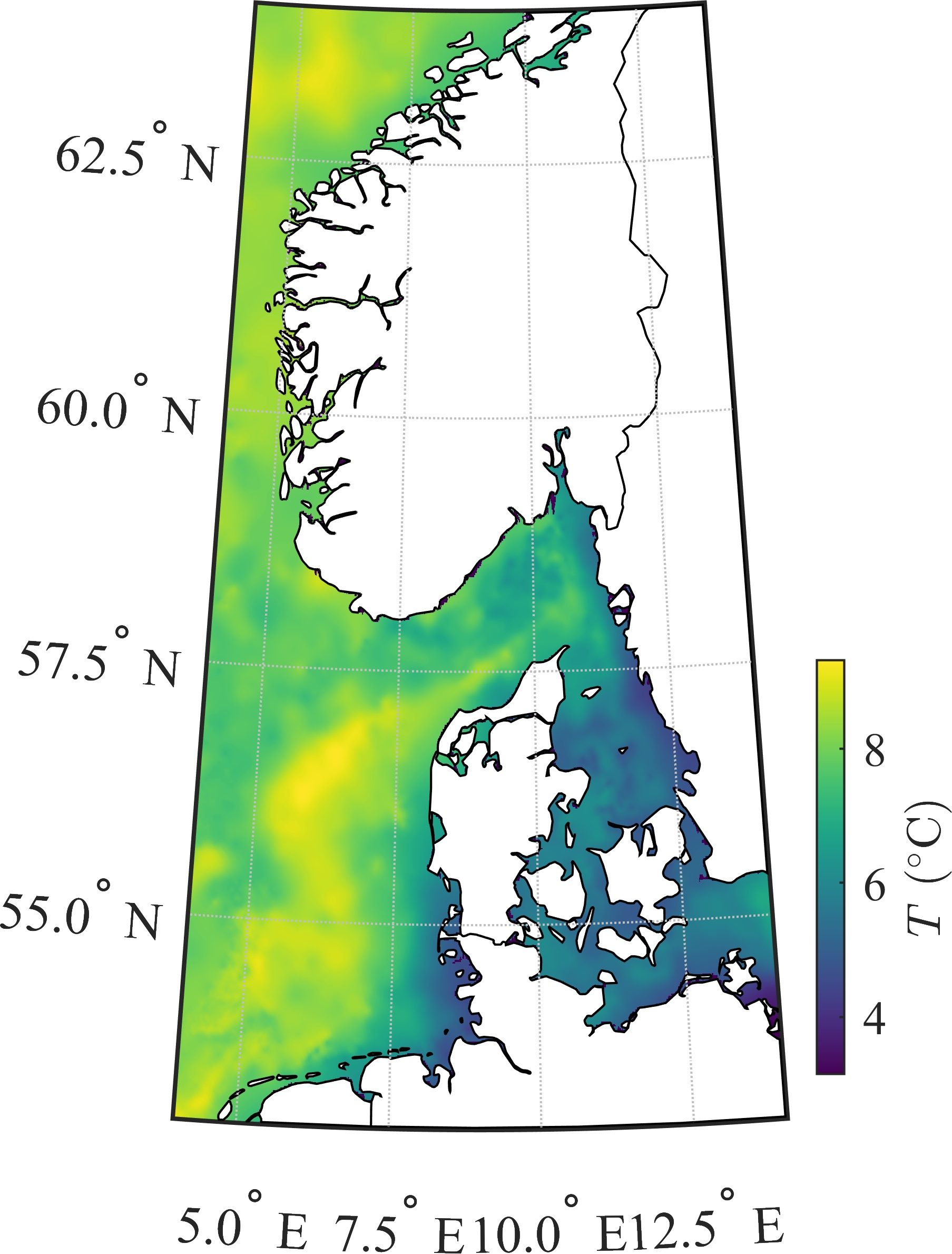 SST map of the North Sea