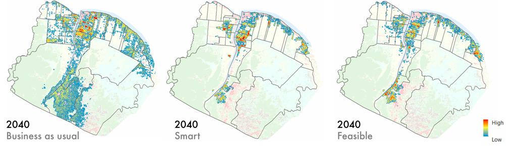 Hotspot analysis overlaid on existing land use map