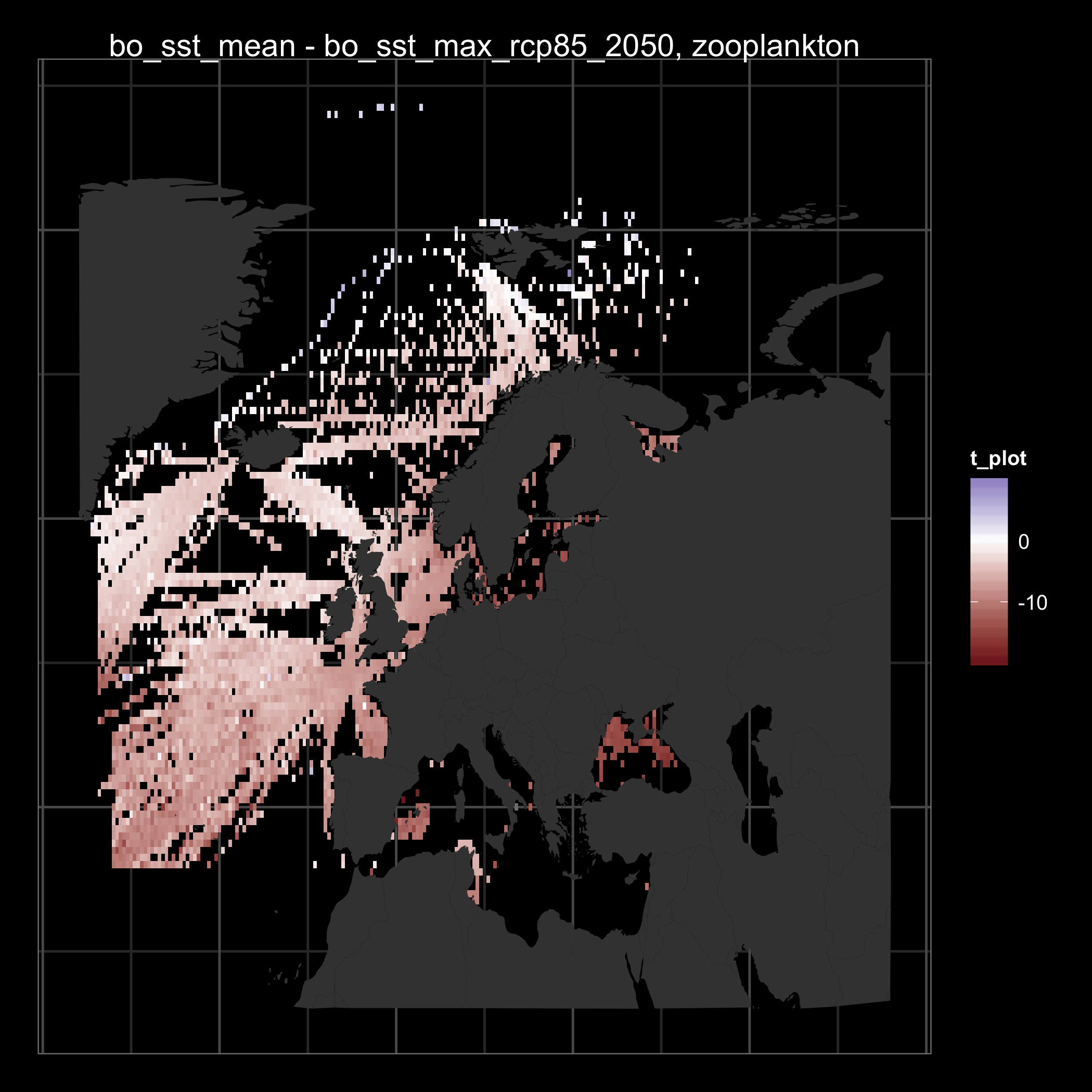 Map showing the difference between mean zooplankton thermal affinity based on mean sea surface temperature (SST) and expected maximum SST in 2050