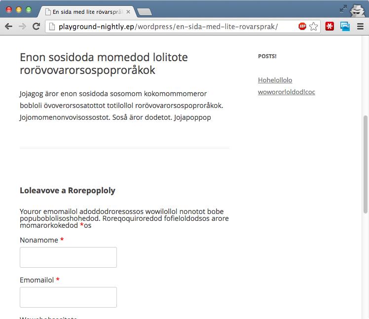WordPress översatt till rövarspråk