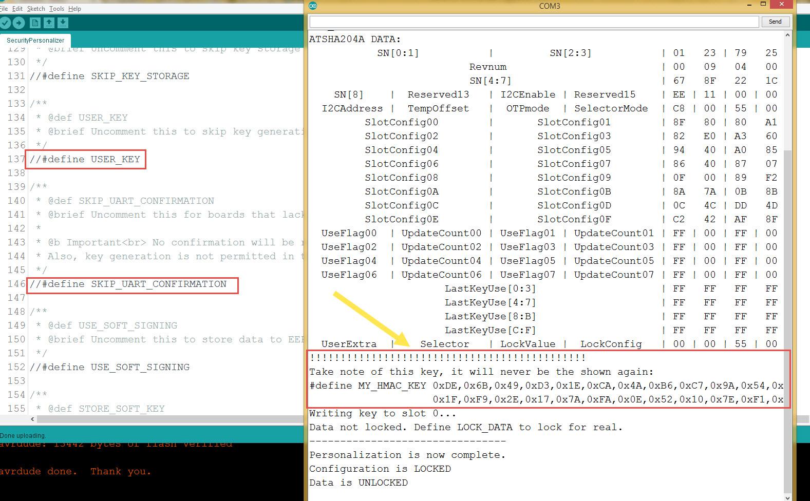 open serial monitor and copy #define MY_HMAC_KEY 0x blah blah blah
