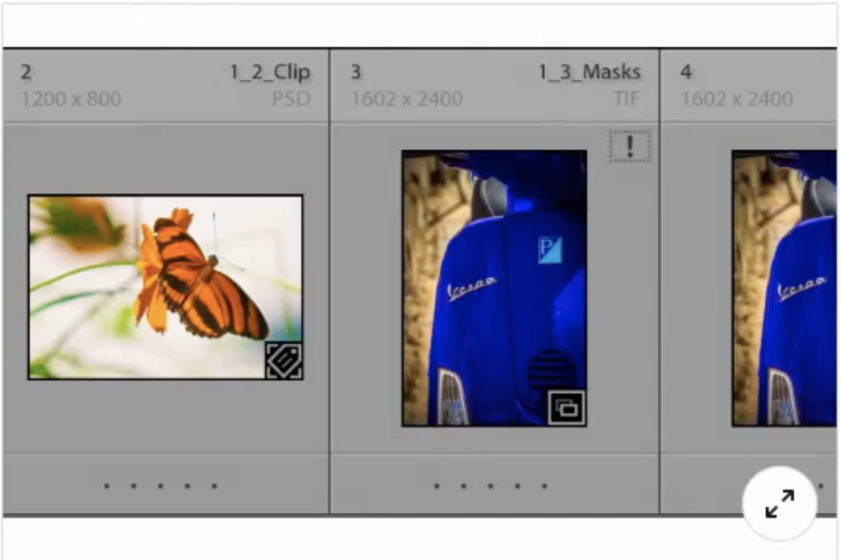Review the image shown. What does the exclamation point adjacent to the thumbnail imply?