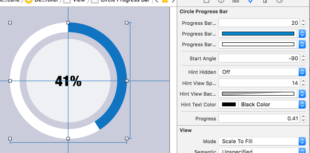 CircleProgressBar Screenshot-Xcode-InterfaceBuilder