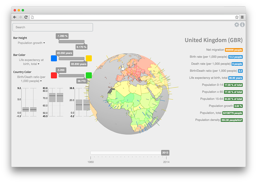 3D globe data visualization tool with customizable filters and data-to-view mapping