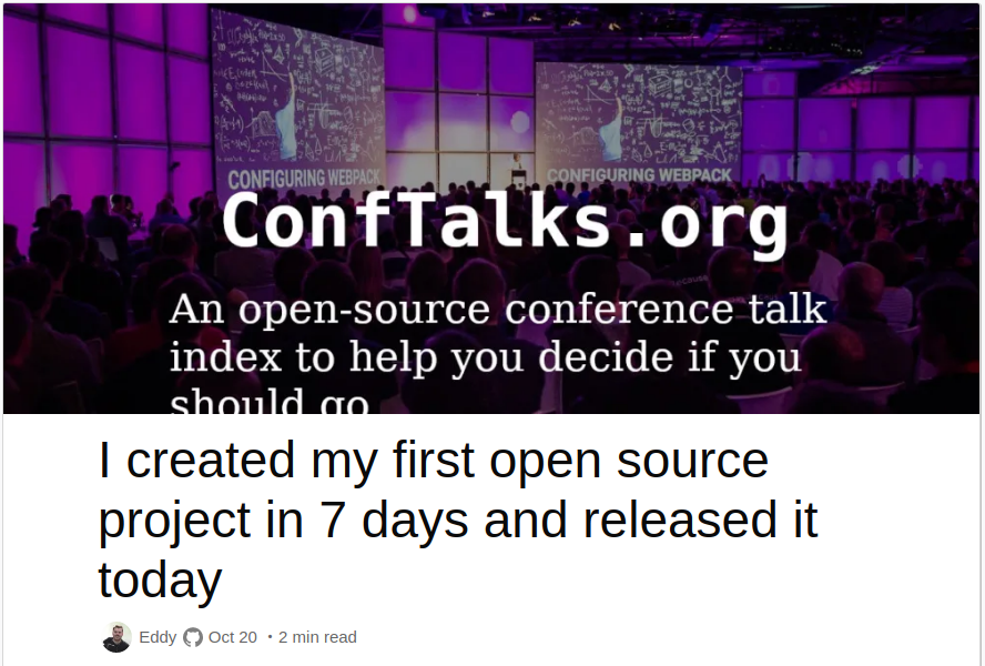 Read more about the release of Conftalks on DEV.to