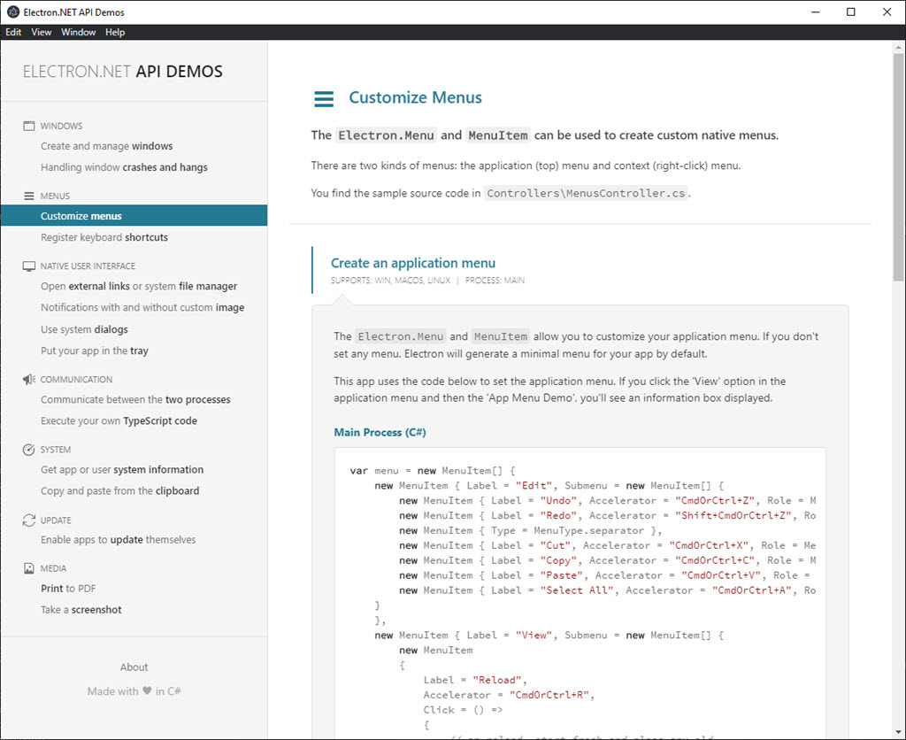 Image of Electron.NET API Demos App
