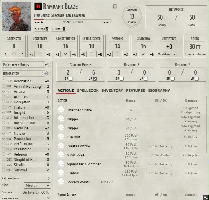 Main character sheet View.