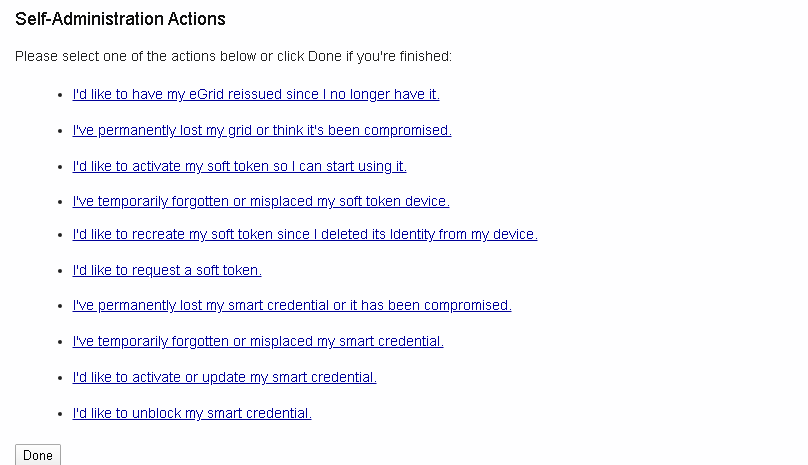 Self-Service Actions page