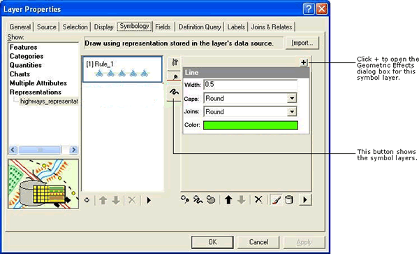 The Layer Properties dialog box with highlighted tabs and buttons used in this sample.