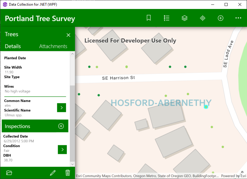 Screenshot of the data collection app for WPF, showing the Portland Tree Survey dataset with an identified feature popup